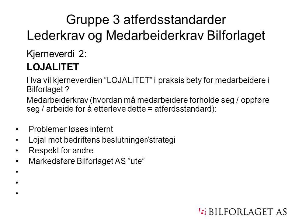 Gruppe 3 atferdsstandarder Lederkrav og Medarbeiderkrav Bilforlaget