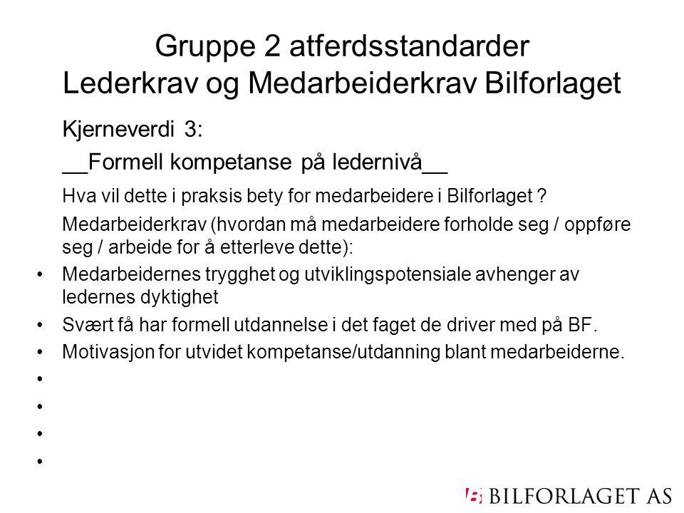 Gruppe 2 atferdsstandarder Lederkrav og Medarbeiderkrav Bilforlaget