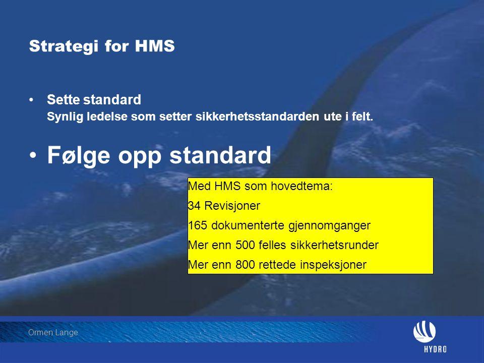 Følge opp standard Strategi for HMS