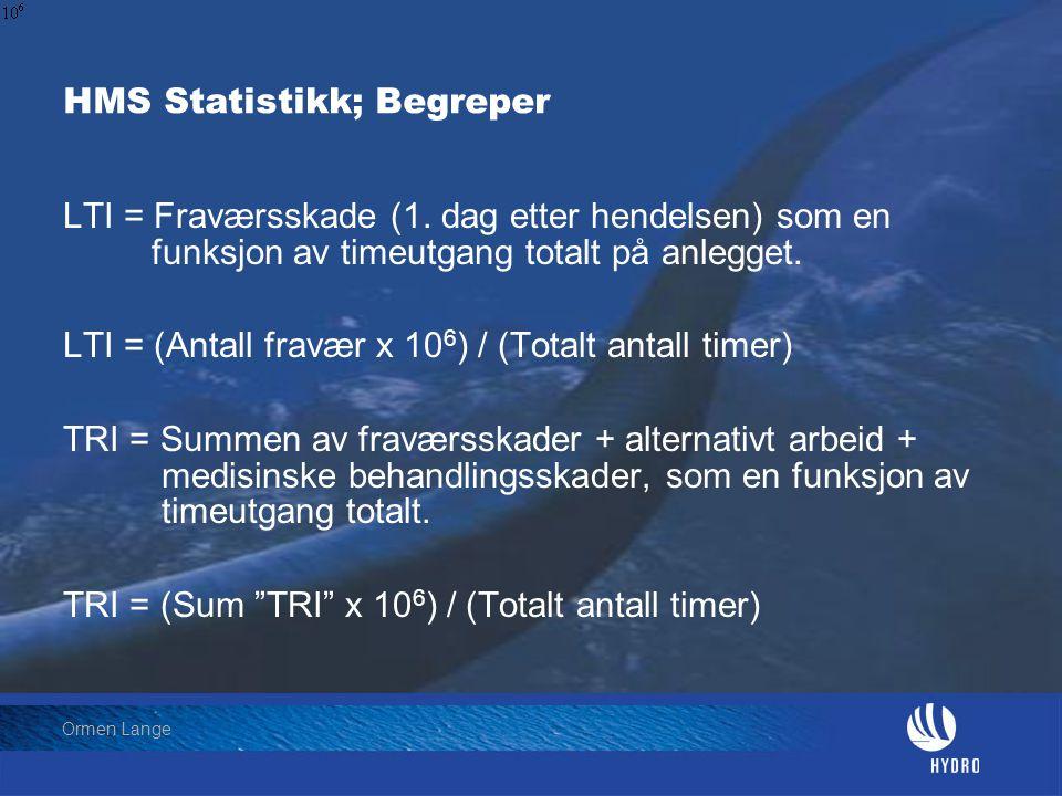 HMS Statistikk; Begreper