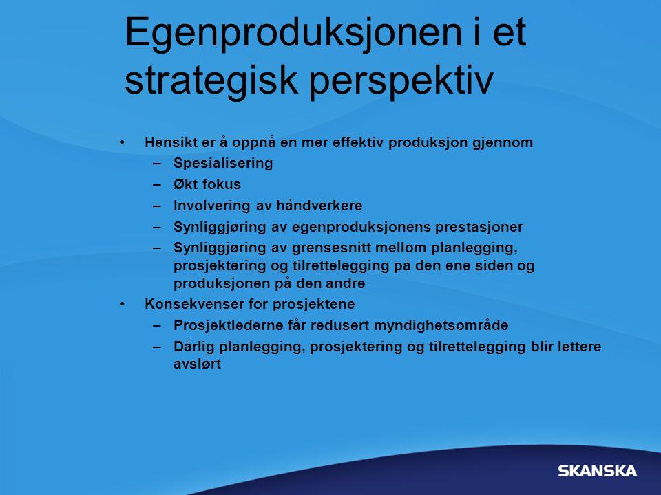 Egenproduksjonen i et strategisk perspektiv