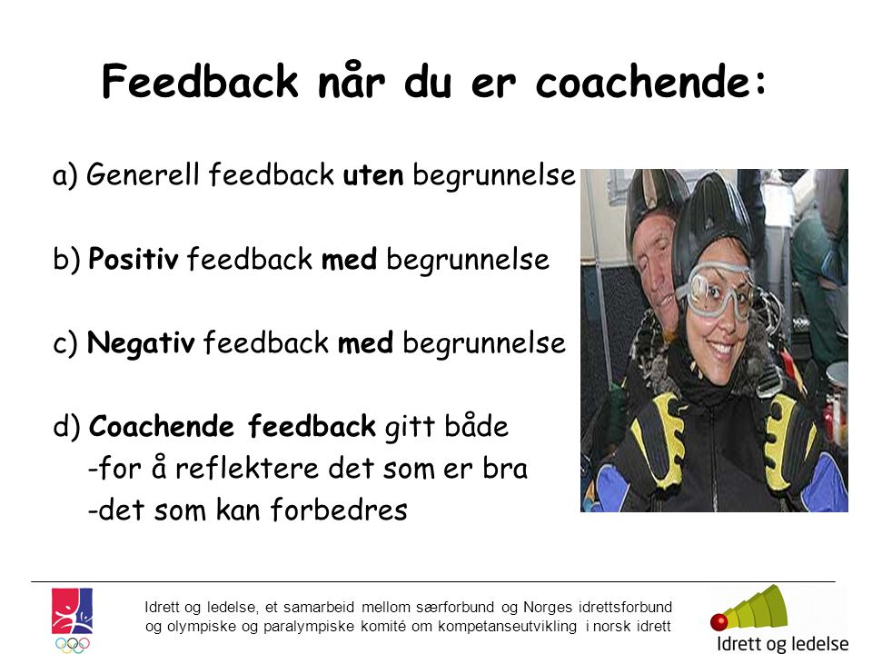 Feedback når du er coachende: