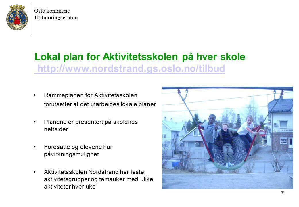 Lokal plan for Aktivitetsskolen på hver skole http://www. nordstrand