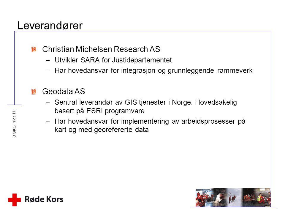 Leverandører Christian Michelsen Research AS Geodata AS