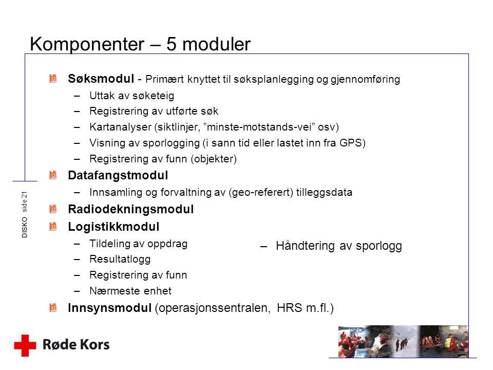 Komponenter – 5 moduler Søksmodul - Primært knyttet til søksplanlegging og gjennomføring. Uttak av søketeig.