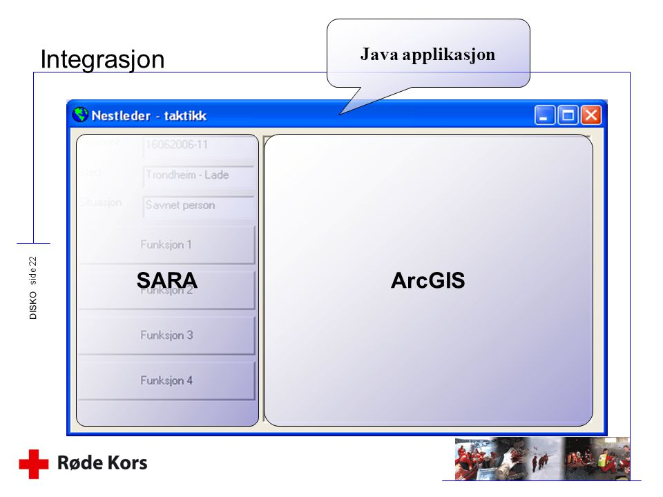 Java applikasjon Integrasjon SARA ArcGIS DISKO