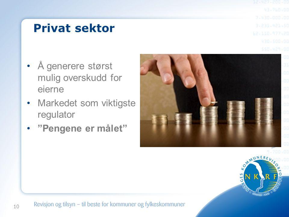 Privat sektor Å generere størst mulig overskudd for eierne