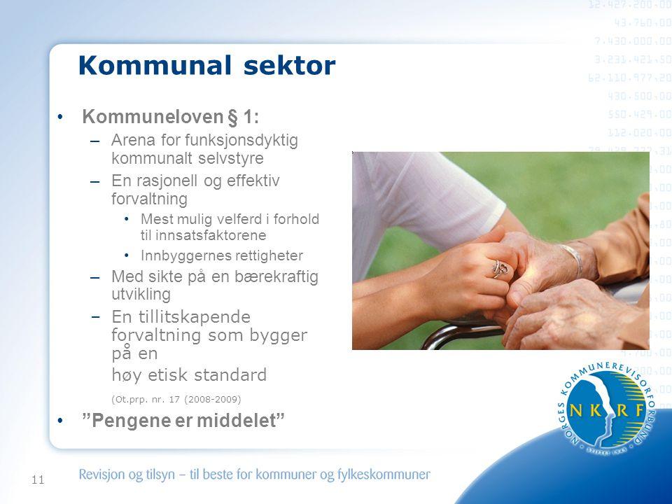 Kommunal sektor Kommuneloven § 1: Pengene er middelet