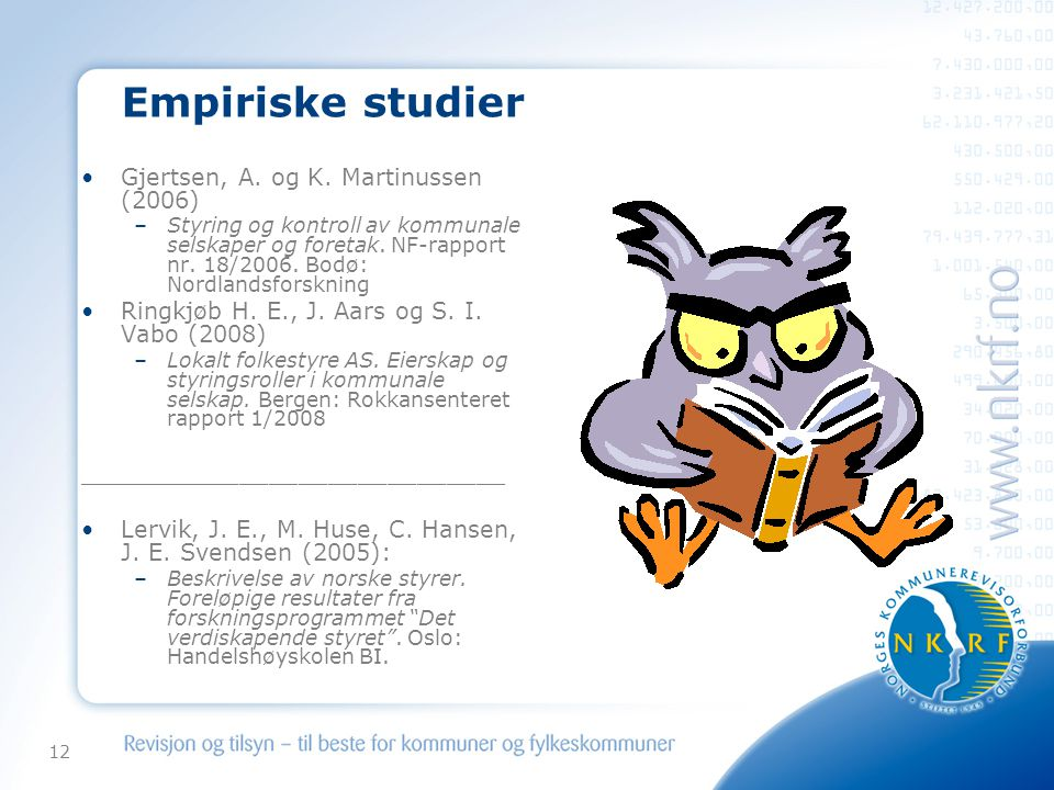 Empiriske studier Gjertsen, A. og K. Martinussen (2006)