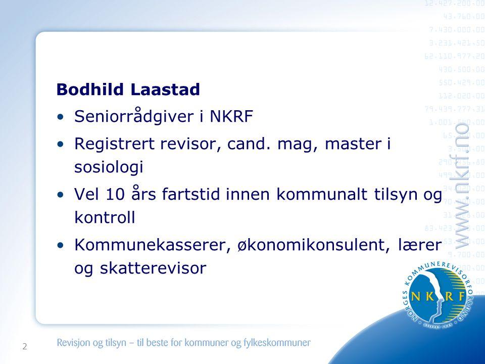 Bodhild Laastad Seniorrådgiver i NKRF. Registrert revisor, cand. mag, master i sosiologi. Vel 10 års fartstid innen kommunalt tilsyn og kontroll.