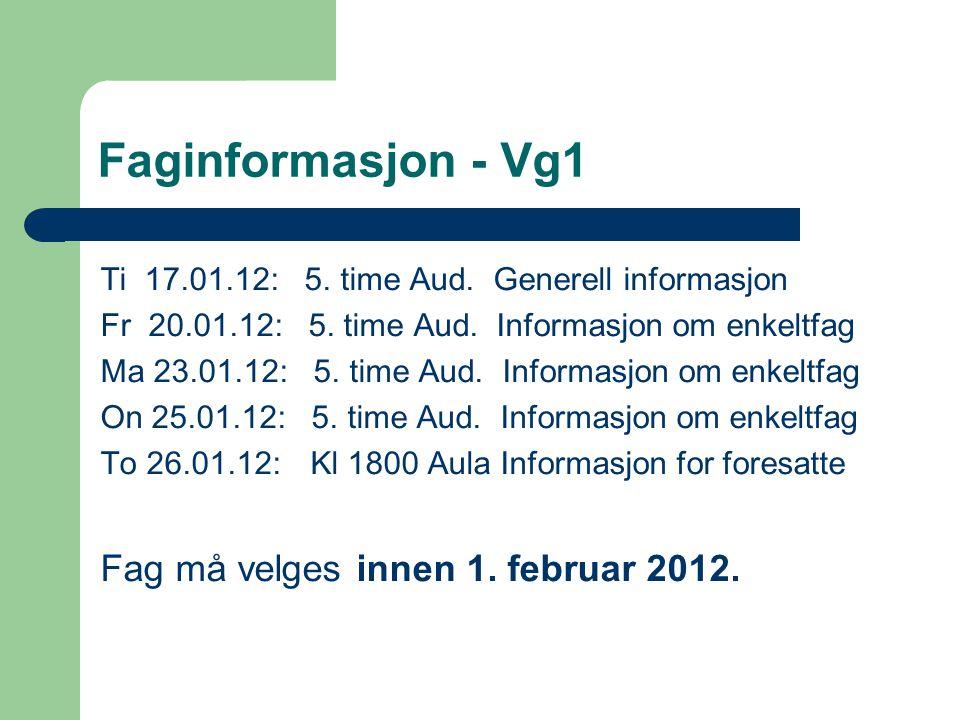 Faginformasjon - Vg1 Fag må velges innen 1. februar 2012.