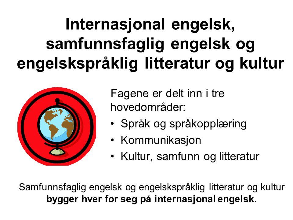 Internasjonal engelsk, samfunnsfaglig engelsk og engelskspråklig litteratur og kultur