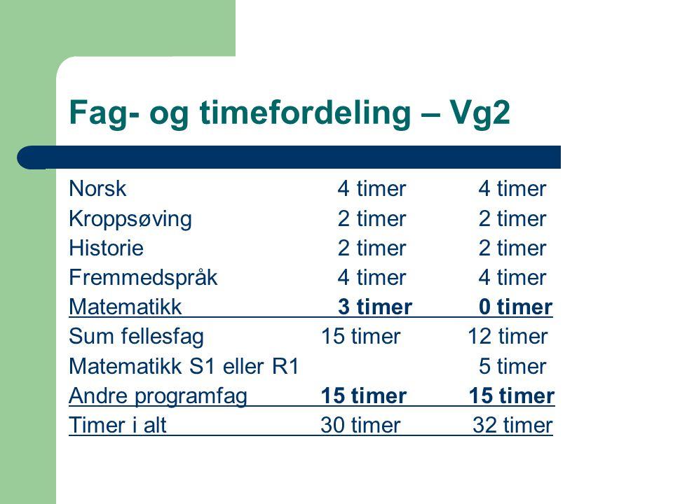 Fag- og timefordeling – Vg2