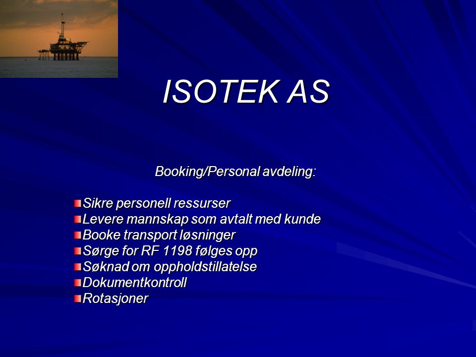 Booking/Personal avdeling: