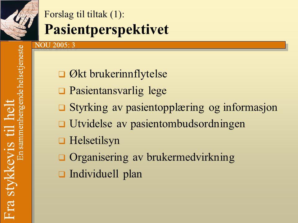 Forslag til tiltak (1): Pasientperspektivet