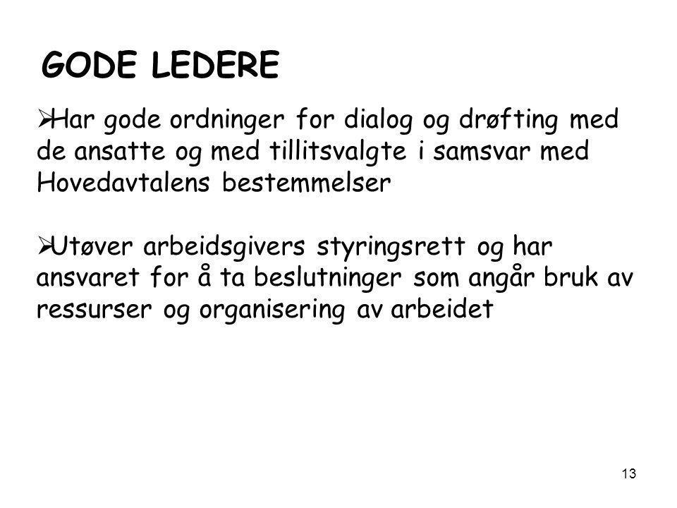 GODE LEDERE Har gode ordninger for dialog og drøfting med de ansatte og med tillitsvalgte i samsvar med Hovedavtalens bestemmelser.