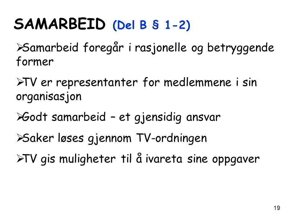 SAMARBEID (Del B § 1-2) Samarbeid foregår i rasjonelle og betryggende former. TV er representanter for medlemmene i sin organisasjon.