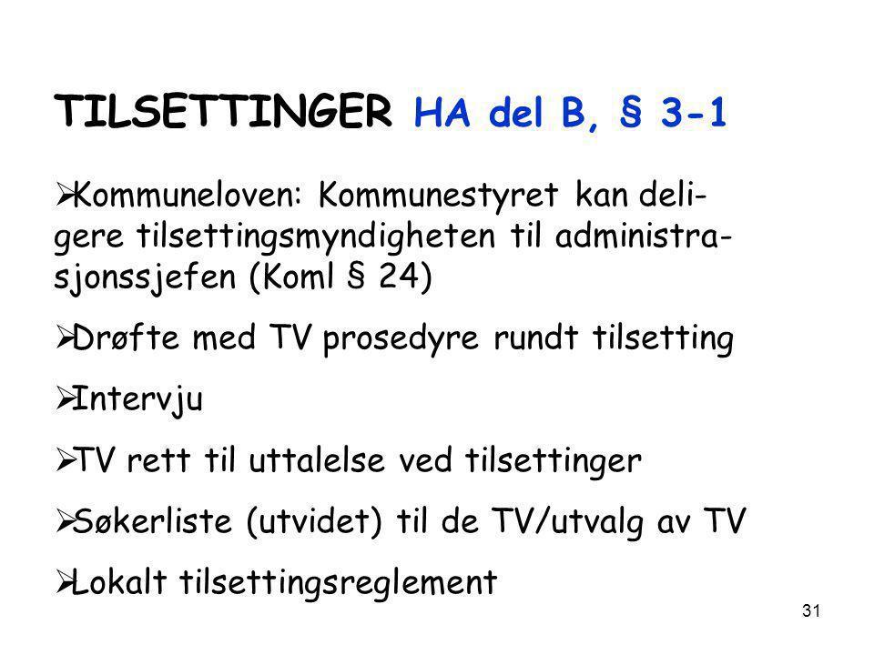 TILSETTINGER HA del B, § 3-1