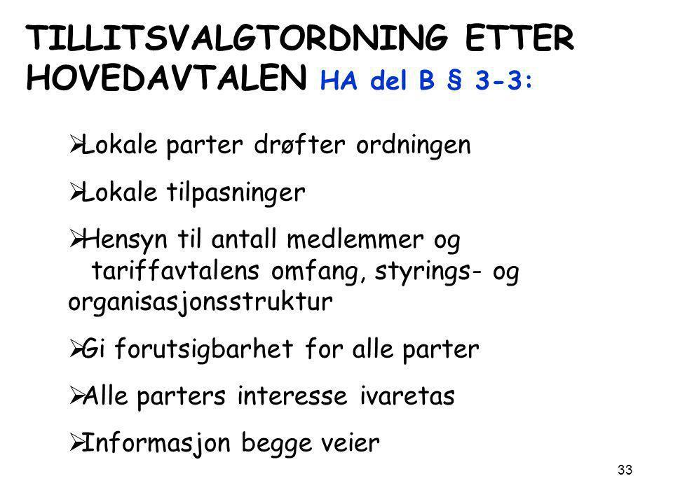 TILLITSVALGTORDNING ETTER HOVEDAVTALEN HA del B § 3-3: