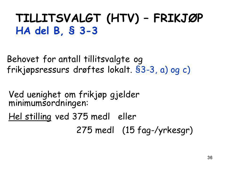 TILLITSVALGT (HTV) – FRIKJØP HA del B, § 3-3