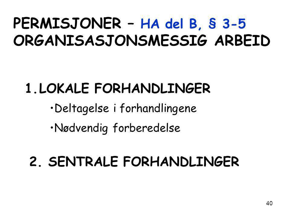 PERMISJONER – HA del B, § 3-5 ORGANISASJONSMESSIG ARBEID
