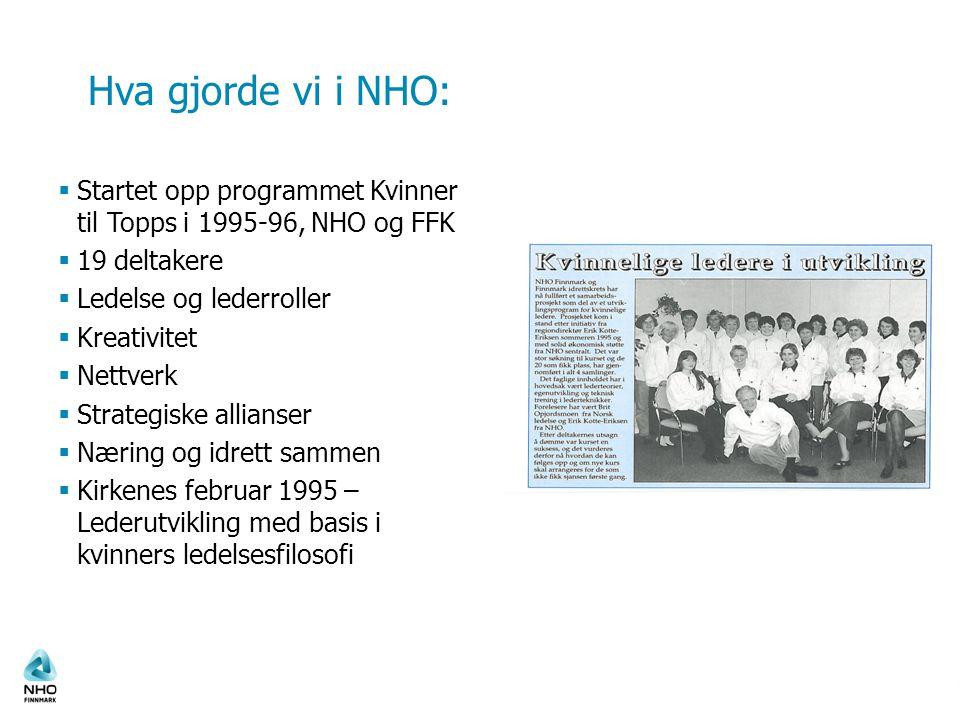 Hva gjorde vi i NHO: Startet opp programmet Kvinner til Topps i 1995-96, NHO og FFK. 19 deltakere.