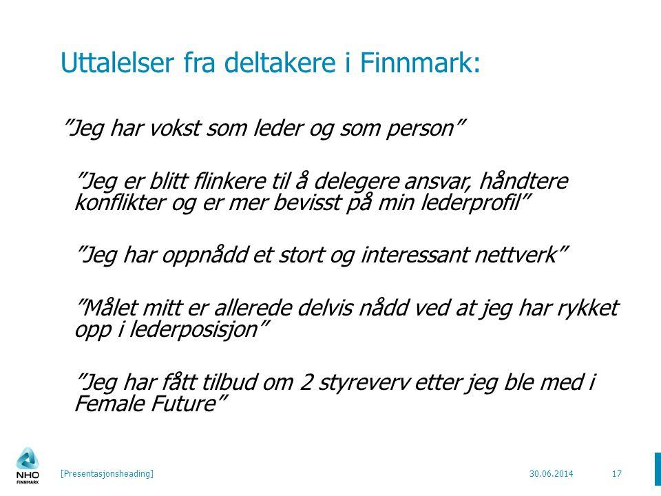 Uttalelser fra deltakere i Finnmark: