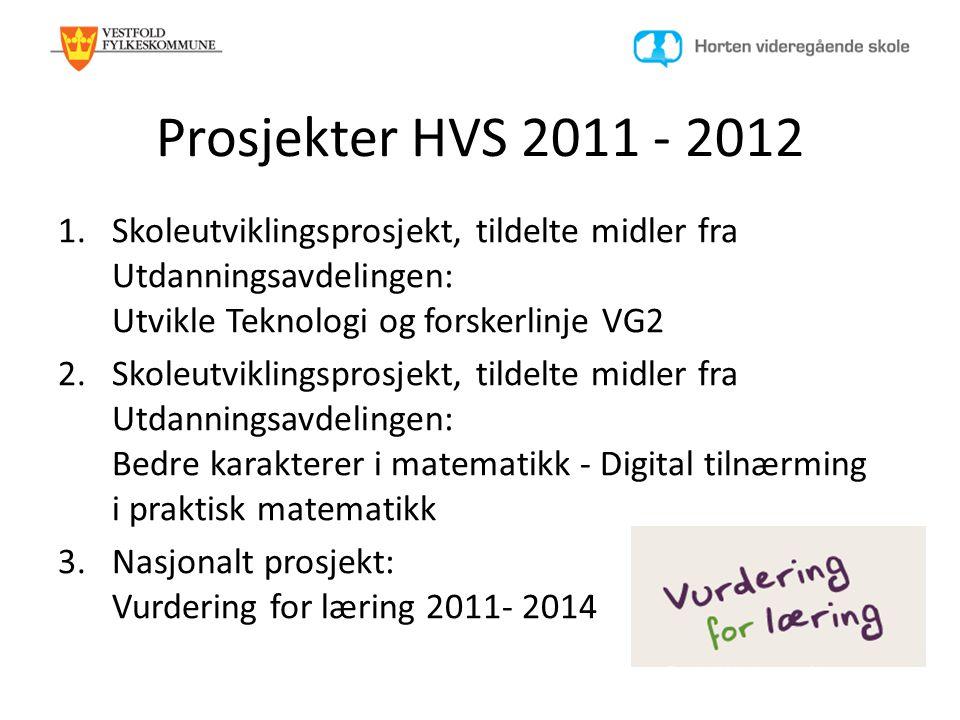 Prosjekter HVS 2011 - 2012 Skoleutviklingsprosjekt, tildelte midler fra Utdanningsavdelingen: Utvikle Teknologi og forskerlinje VG2.