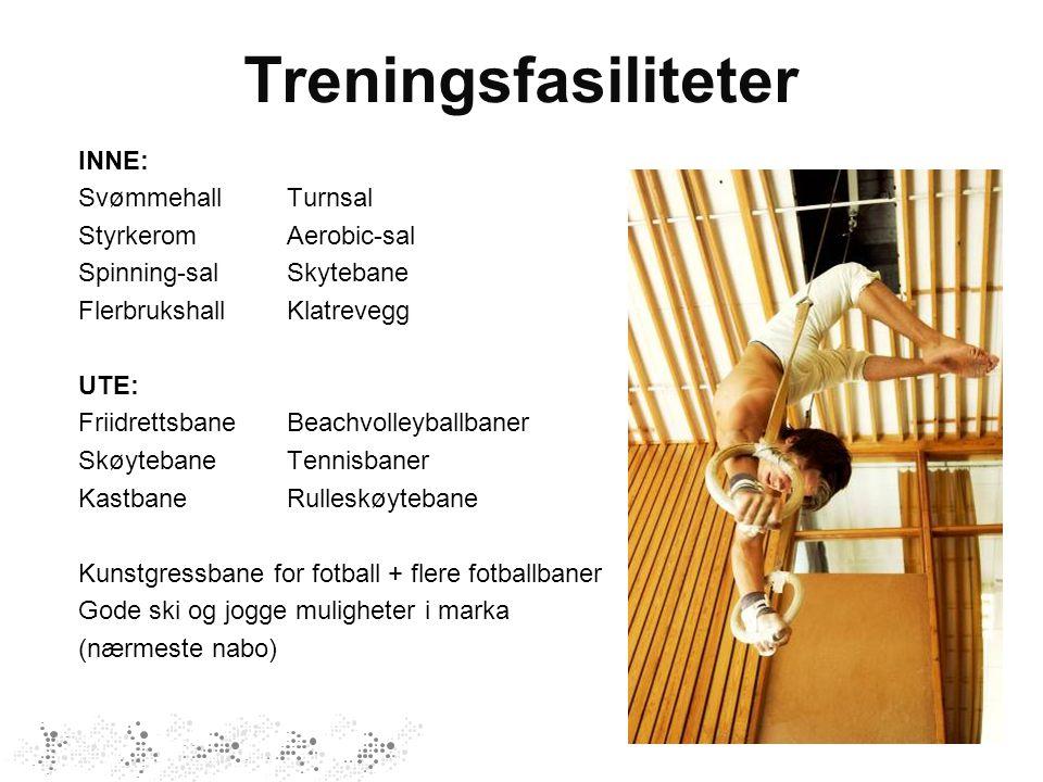 Treningsfasiliteter INNE: Svømmehall Turnsal Styrkerom Aerobic-sal