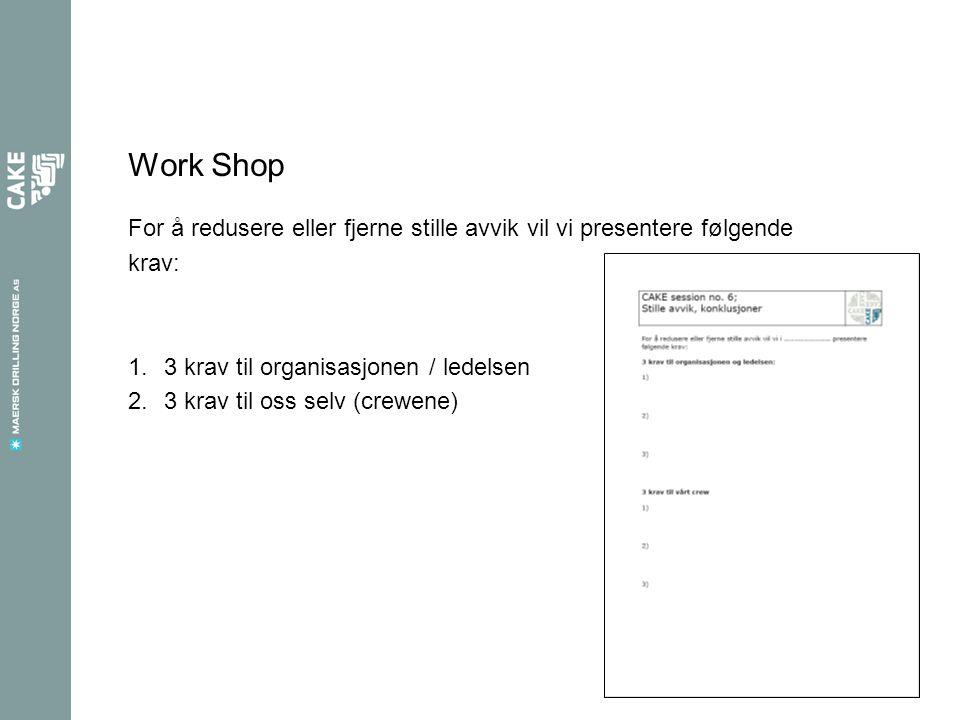 Work Shop For å redusere eller fjerne stille avvik vil vi presentere følgende. krav: 3 krav til organisasjonen / ledelsen.
