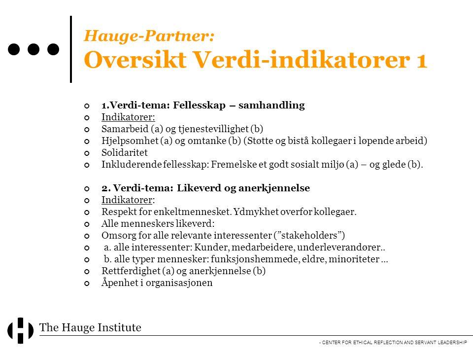 Hauge-Partner: Oversikt Verdi-indikatorer 1