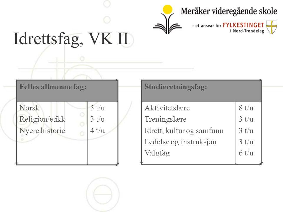 Idrettsfag, VK II Felles allmenne fag: Norsk Religion/etikk