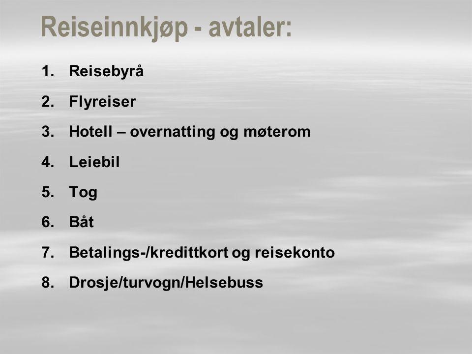 Reiseinnkjøp - avtaler: