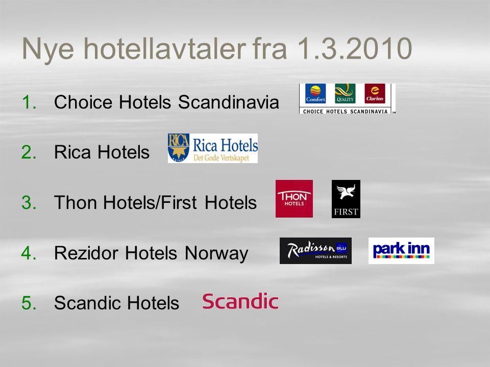 Nye hotellavtaler fra 1.3.2010 Choice Hotels Scandinavia Rica Hotels