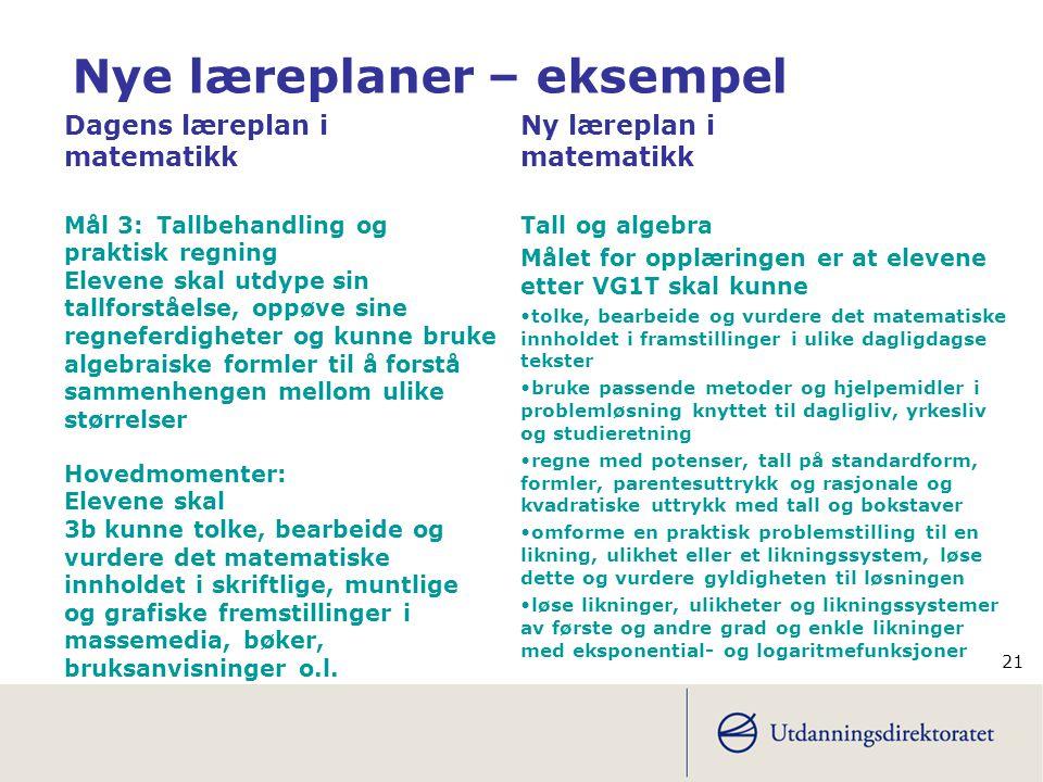 Nye læreplaner – eksempel