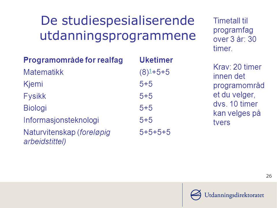 De studiespesialiserende utdanningsprogrammene