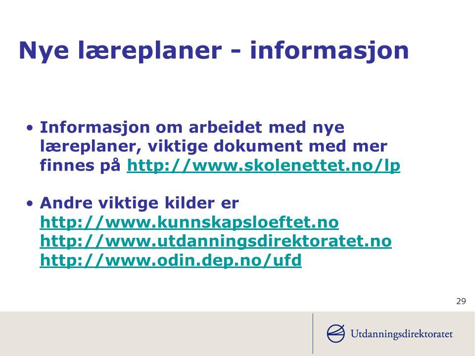 Nye læreplaner - informasjon