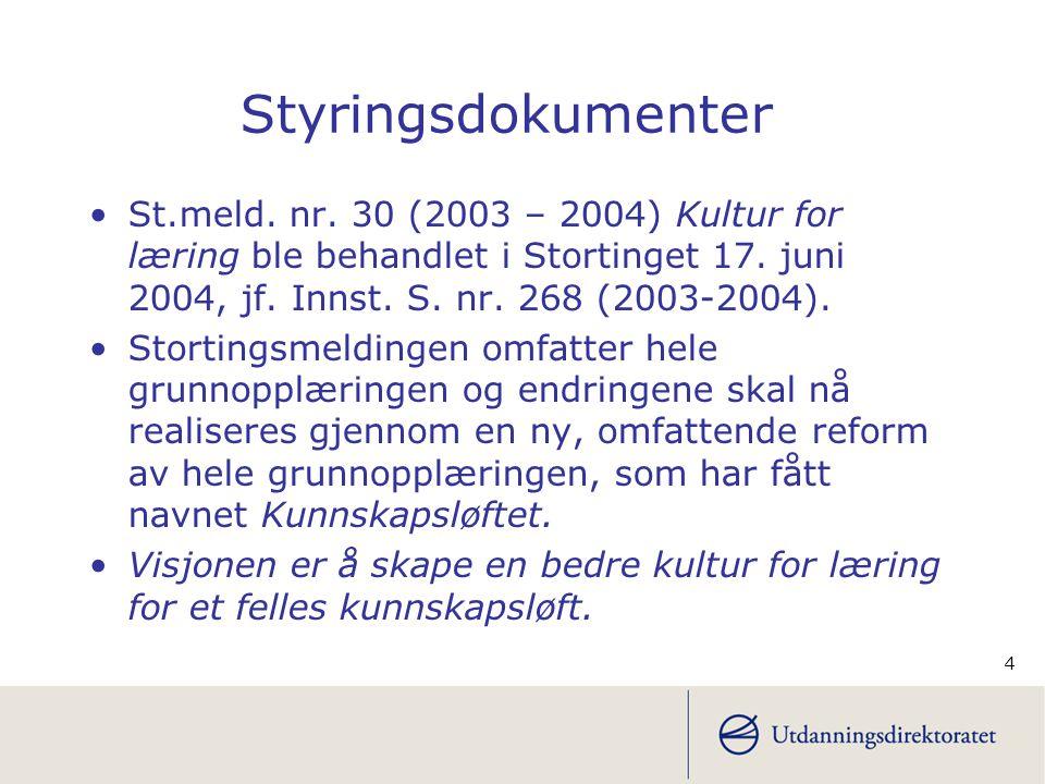 Styringsdokumenter St.meld. nr. 30 (2003 – 2004) Kultur for læring ble behandlet i Stortinget 17. juni 2004, jf. Innst. S. nr. 268 (2003-2004).