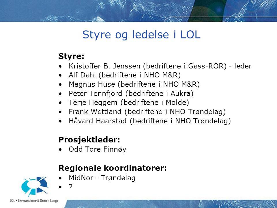 Styre og ledelse i LOL Styre: Prosjektleder: Regionale koordinatorer:
