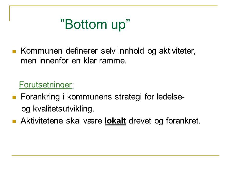 Bottom up Kommunen definerer selv innhold og aktiviteter, men innenfor en klar ramme. Forutsetninger: