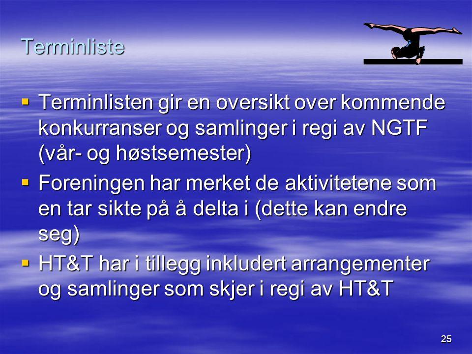 Terminliste Terminlisten gir en oversikt over kommende konkurranser og samlinger i regi av NGTF (vår- og høstsemester)