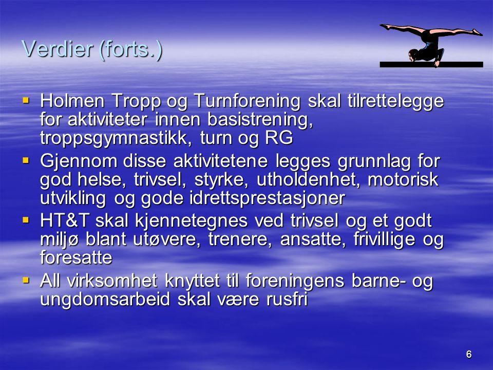 Verdier (forts.) Holmen Tropp og Turnforening skal tilrettelegge for aktiviteter innen basistrening, troppsgymnastikk, turn og RG.