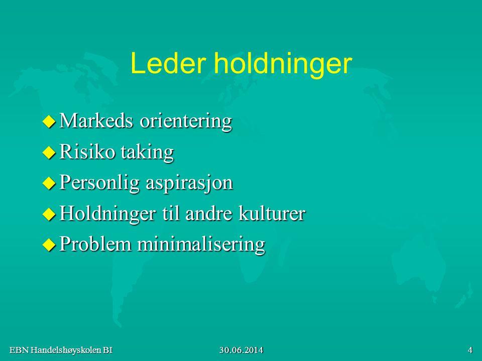 Leder holdninger Markeds orientering Risiko taking