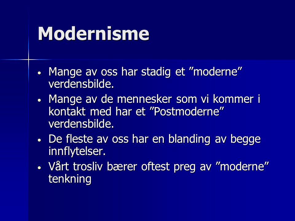 Modernisme Mange av oss har stadig et moderne verdensbilde.
