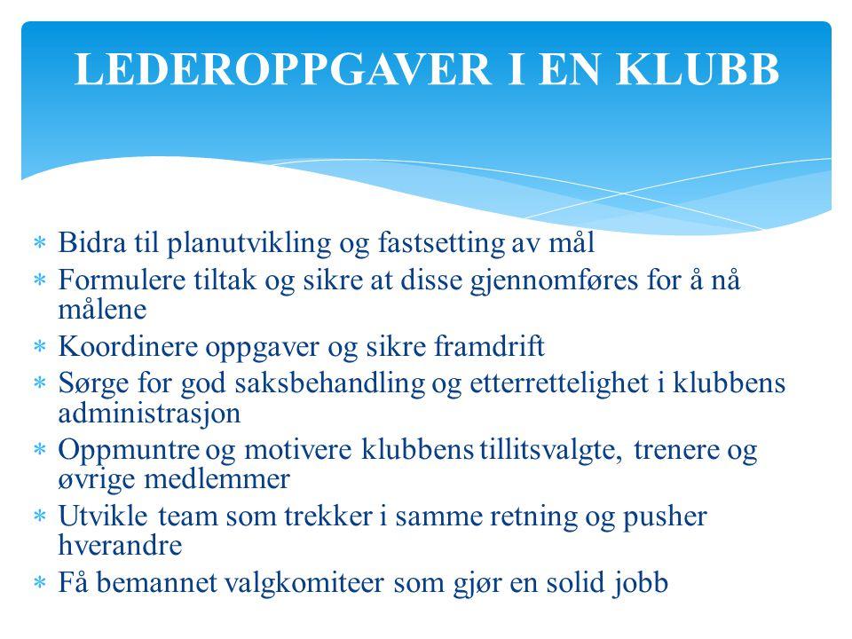 LEDEROPPGAVER I EN KLUBB