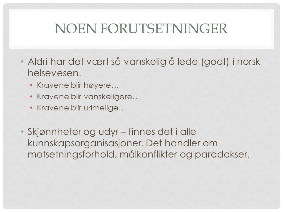 Noen forutsetninger Aldri har det vært så vanskelig å lede (godt) i norsk helsevesen. Kravene blir høyere…