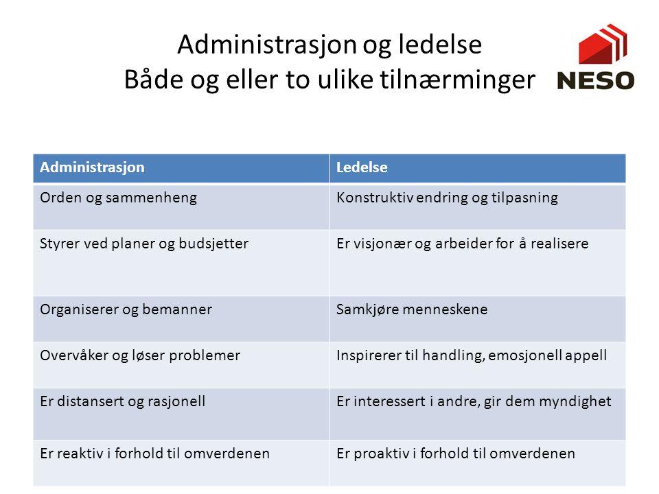 Administrasjon og ledelse Både og eller to ulike tilnærminger