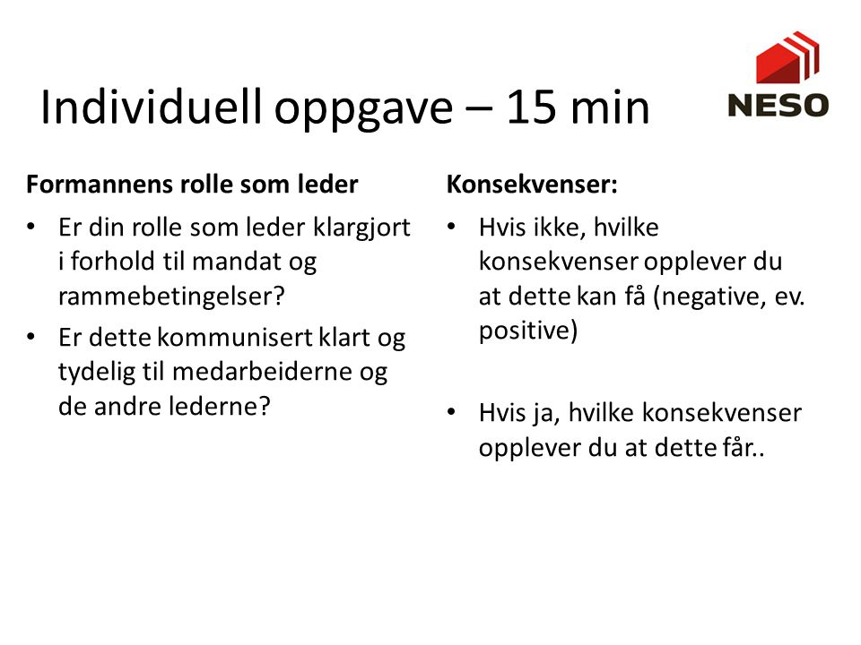 Individuell oppgave – 15 min