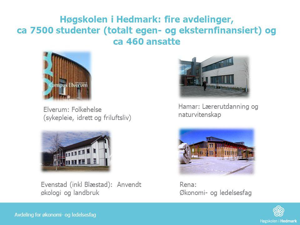 Høgskolen i Hedmark: fire avdelinger, ca 7500 studenter (totalt egen- og eksternfinansiert) og ca 460 ansatte