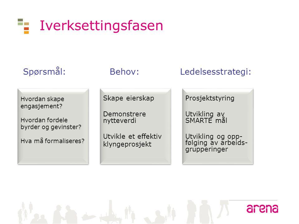 Iverksettingsfasen Spørsmål: Behov: Ledelsesstrategi: Skape eierskap
